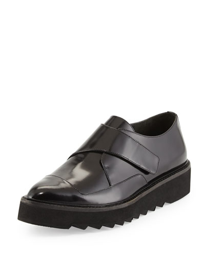 Arden Polished Leather Creeper, Black