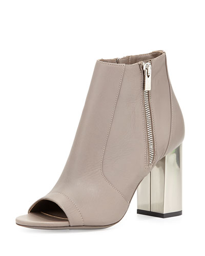Vince Faber Open Toe Leather Bootie New Stone From
