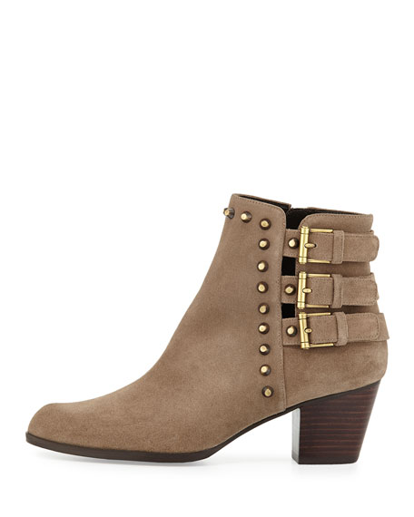 Kickstart Studded Suede Ankle Boot, Neutral