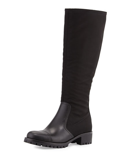 9d3f440b2 Prada Nylon & Leather Knee Boot, Black (Nero)