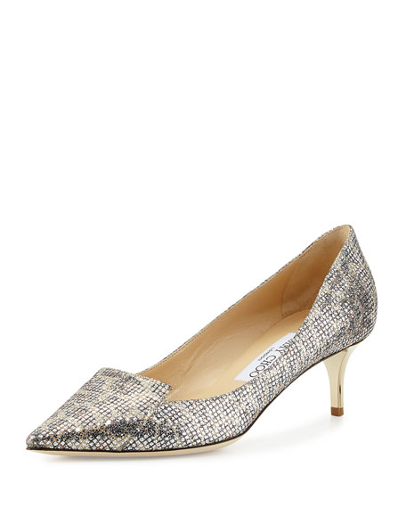 cc1c17b9bc5 Jimmy Choo Allure Glittered Kitten-Heel Pump