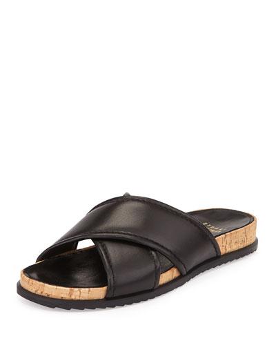 Spa Leather Crisscross Sandal, Black