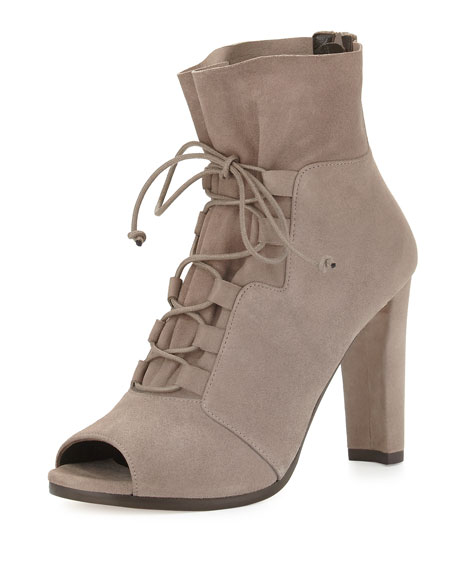 Bound Lace-Up Peep-Toe Bootie, Topo