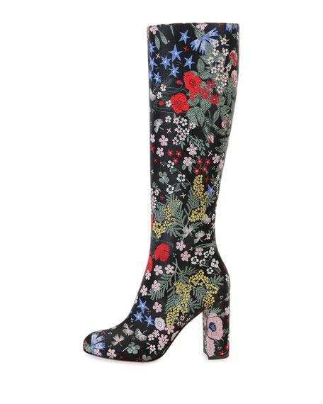 Garden-Print Leather Knee Boot, Nero