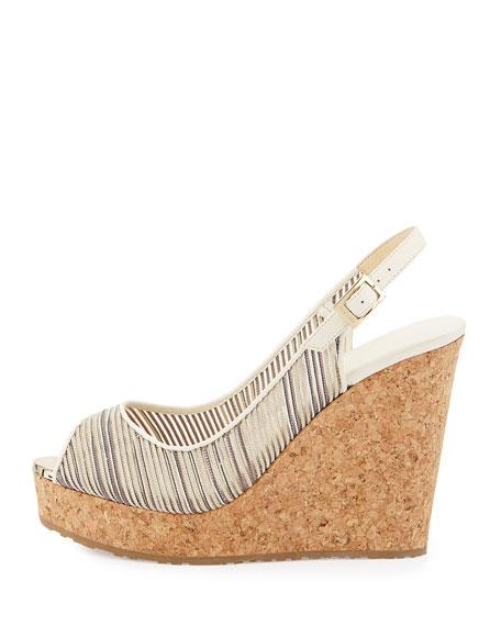65bcdb6c2392 Jimmy Choo Prova Metallic Striped Wedge Sandal