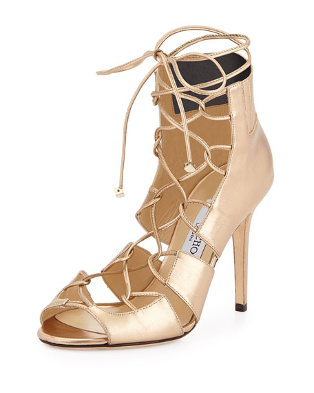 Jimmy Choo Metallic Lace-Up Sandals cheap factory outlet free shipping supply nicekicks cheap price v3nYpGPJN