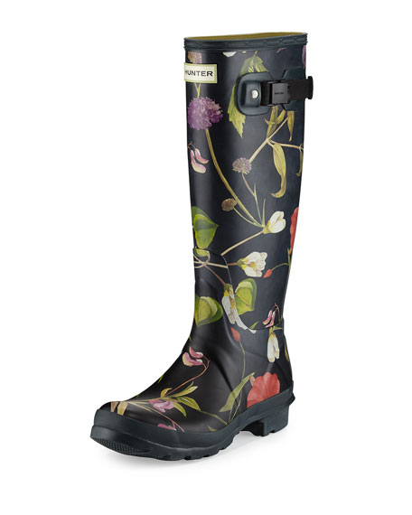 Hunter Boot Original Tall Floral-Print Rain Boot, Black/Multi