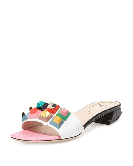 Fendi Multicolor Leather Mule Slide, White/Lollipop