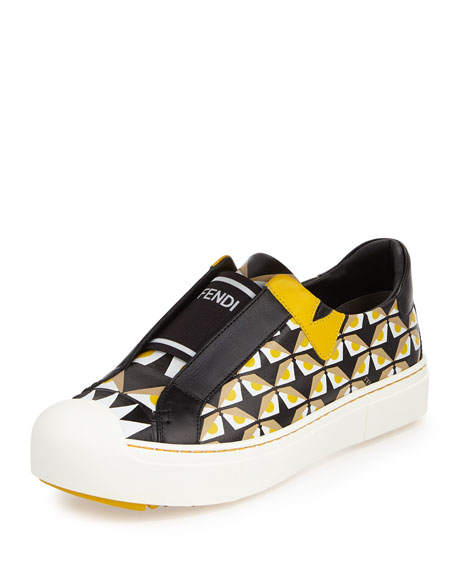 Fendi Bug Eyes Slip-On Sneaker, Black/Yellow