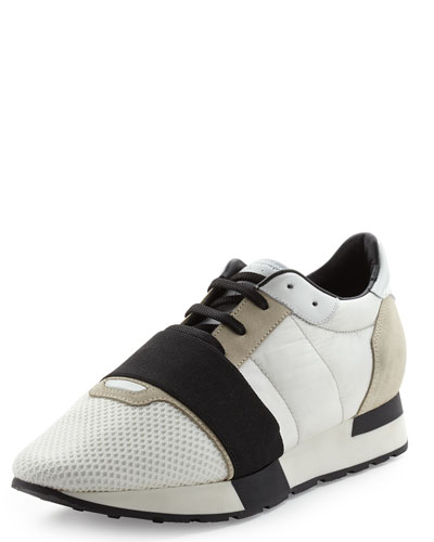 Tricolor Mesh & Leather Sneaker, Blanche