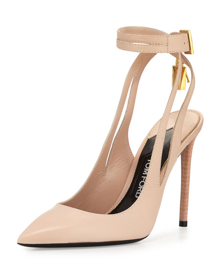 0e579c387c TOM FORD Leather Ankle-Lock 105mm Pump, Nude