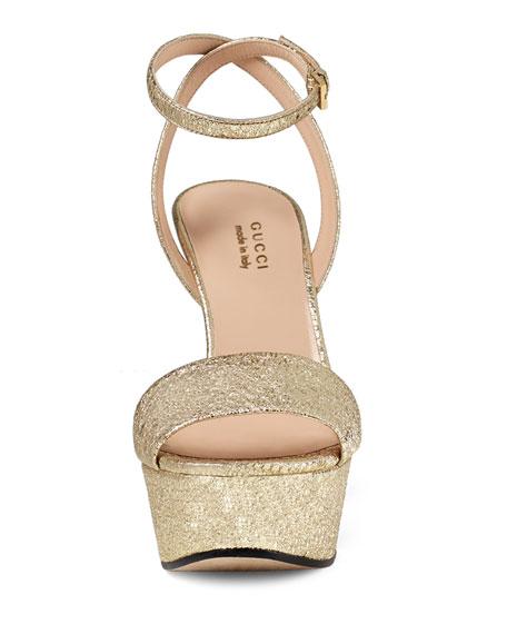 b91604aefd49 Gucci Leila Metallic Platform Sandal