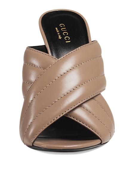 Webby Leather 110mm Sandal, Porcelain Rose