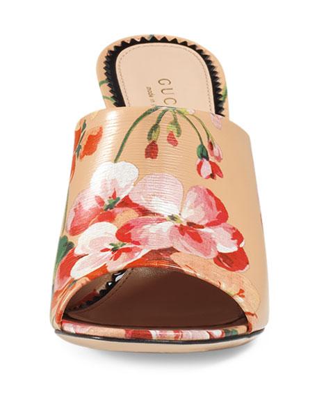 b06027235 Gucci Marine Floral-Print Slide Sandal, Apricot
