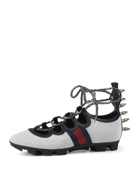 Titan Glitter Lace-Up Spike Sneaker, Argento
