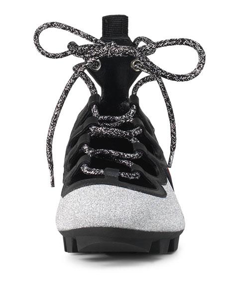 293cd5f184a Gucci Titan Glitter Lace-Up Spike Sneaker