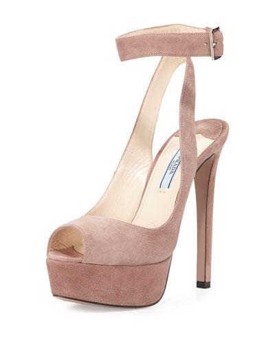 Platform Ankle-Wrap Sandal, Dark Rose
