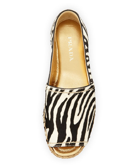 Zebra-Print Calf-Hair Espadrille Slip-On, Black/White (Bianco+Nero)