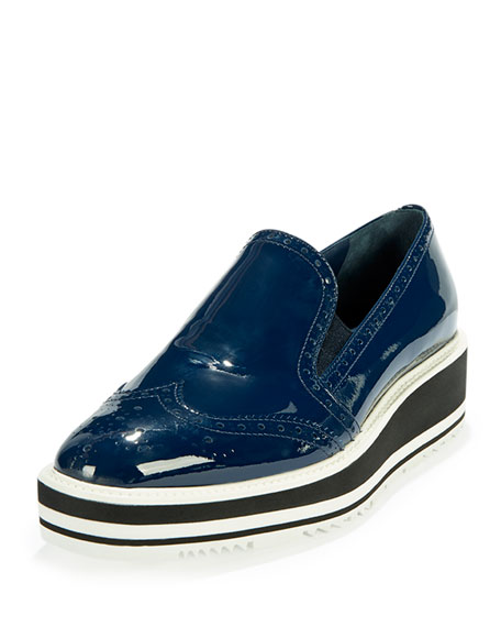 Patent Leather Wing-Tip Loafer, Royal Blue