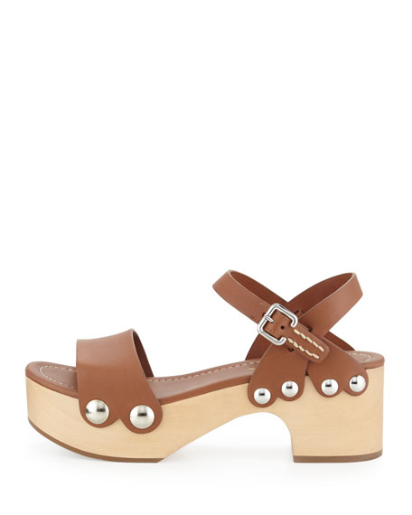Chunky Leather Clog Sandal, Brandy