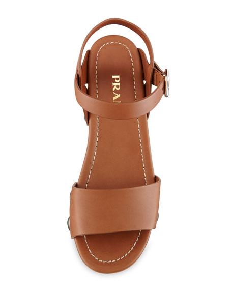 Chunky Leather Clog Sandal, Brandy