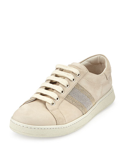 Nubuck Monili Lace-Up Sneaker, Dove