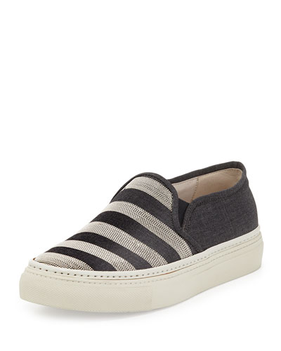 Monili Striped Skate Sneaker, Anthracite