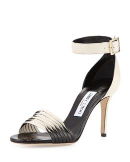 Livvi Napa & Patent Sandal, Off White/Black