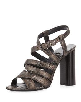 Embossed Leather Strappy Sandal, Gunmetal