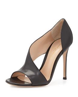 Leather Open-Side Sandal, Black