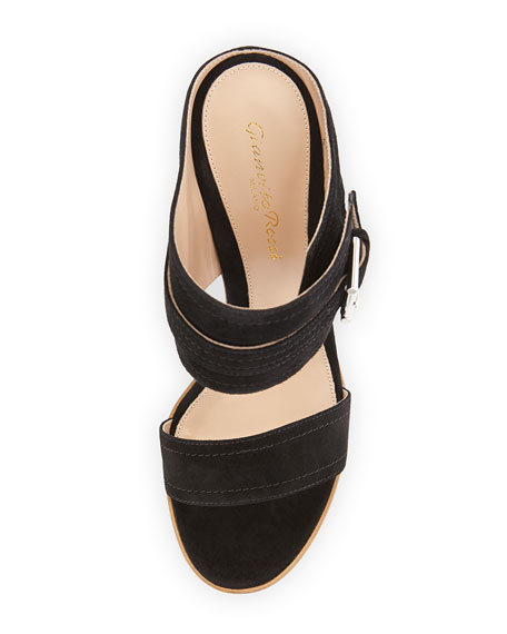 Suede Ankle-Wrap Wedge Slide, Black