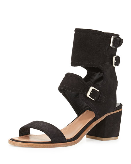 Suede Ankle Cuff Sandal, Black
