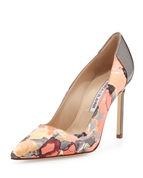 BB Floral-Print Satin Pump, Coral/Anthracite