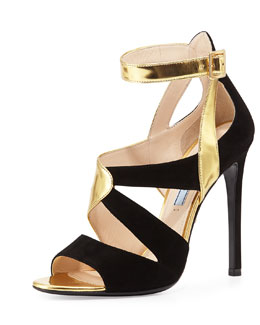 Suede & Metallic Crisscross Sandal, Gold/Black