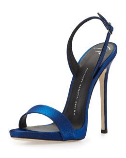 Satin Slingback Sandal, Electric Blue