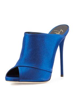 Open-Toe High-Heel Mule, Electric Blue