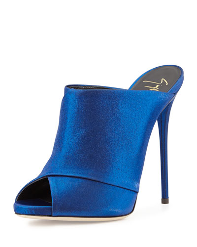 Open-Toe High-Heel Mule, Electric Blue