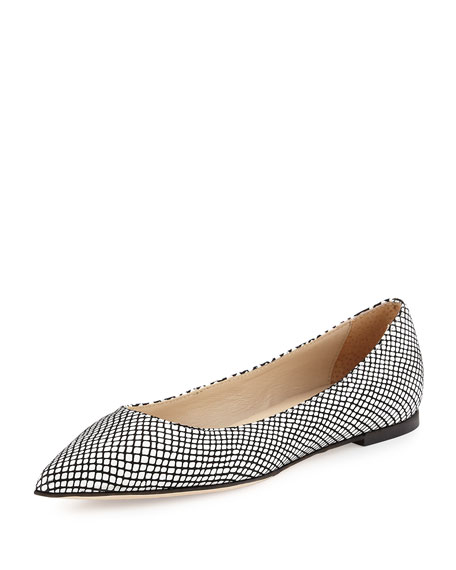 Valerie Snake-Embossed Pointed-Toe Flat, White/Black