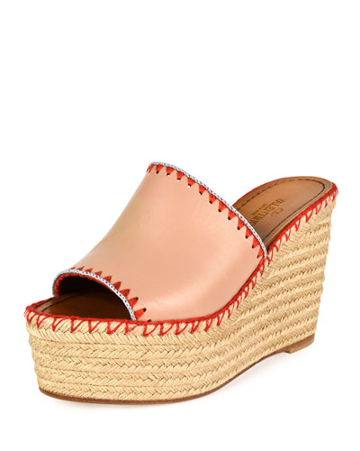 Whipstitch Espadrille Slide Sandal, Skin Sorbet/Coral