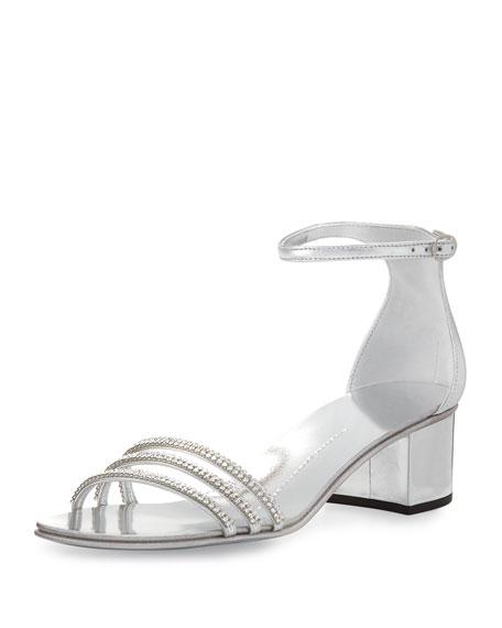Giuseppe Zanotti Crystal-Embellished Block-Heel Sandal, Silver