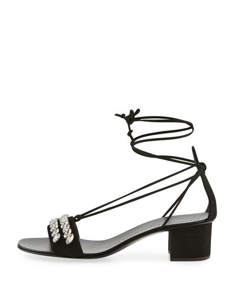 Crystal-Embellished Suede Block-Heel Sandal, Black