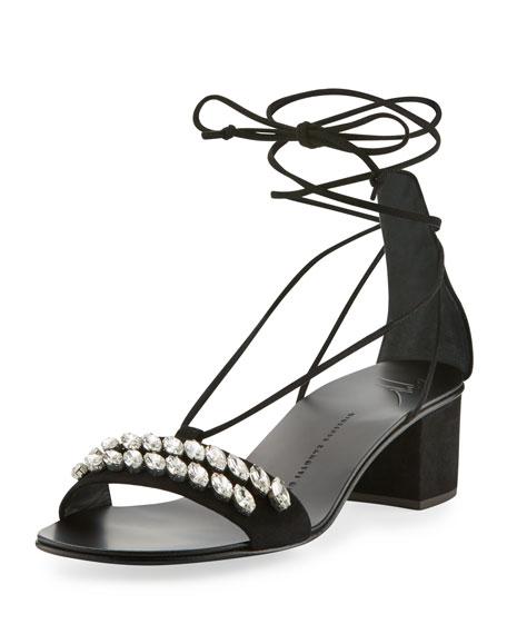 e4537297fec Giuseppe Zanotti Crystal-Embellished Suede Block-Heel Sandals