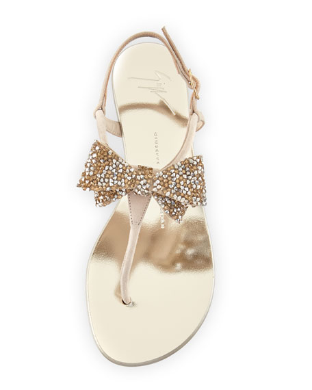 Jeweled Flat Bow Sandal, Blush