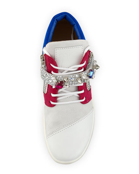 Jewel-Strap Colorblock Leather Sneaker, White