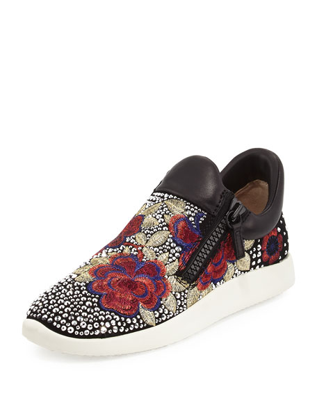 Giuseppe Zanotti Embellished Floral-Embroidered Sneaker, Black