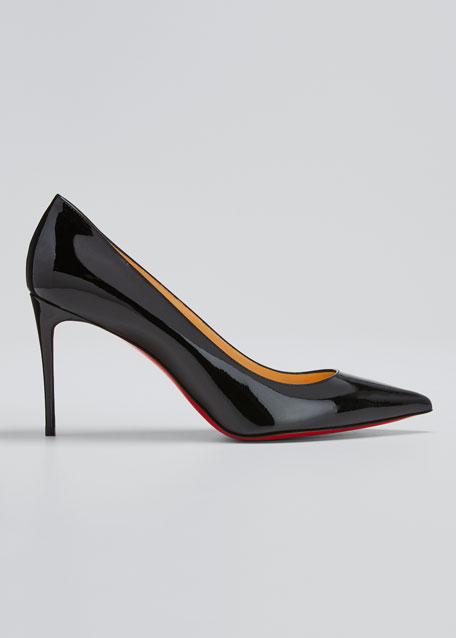 Decollete 85mm Patent Leather Red Sole Pump, Black