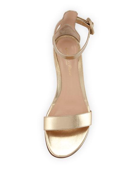 Portofino Leather Ankle-Wrap Sandals, Gold