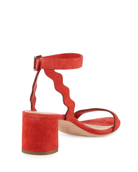 Emi Wavy Suede Ankle-Wrap Sandal