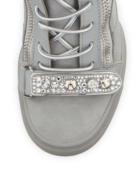 Tiana Crystal High-Top Wedge Sneaker, Gray
