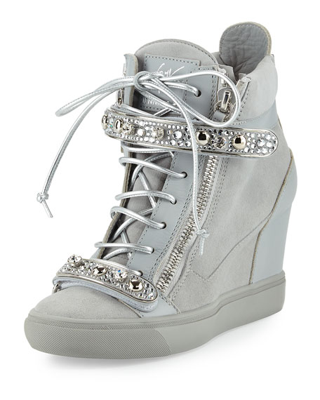 3d10d3abaed Tiana Crystal High-Top Wedge Sneakers Gray